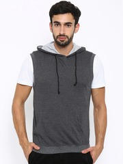 American Crew Charcoal Grey Sleeveless Hooded Sweatshirt