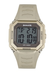 Sonata Men Gold-Toned Superfiber Digital Watch 77048PP01J