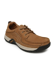 Stardox Men Tan Solid Leather Sneakers