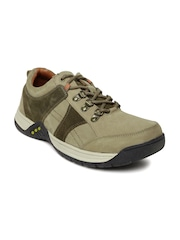 Stardox Men Olive Green Colourblocked Leather Sneakers