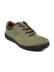 Stardox Men Olive Green Solid Leather Sneakers