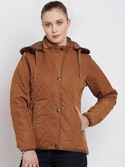 Fort Collins Tan Brown Quilted Parka Jacket with Detachable Hood