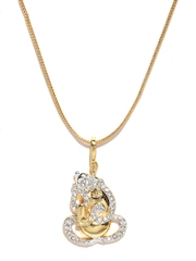 Estelle Gold-Toned Lord Ganesha-Shaped Pendant with Chain