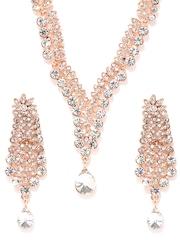 Estelle Rose Gold-Toned Stone-Studded Jewellery Set