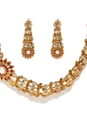 Estelle 24KT Gold-Plated Red Stone-Studded Jewellery Set