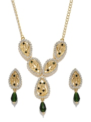 Estelle 24KT Gold-Plated & Green Stone-Studded Jewellery Set