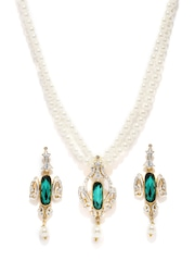 Estelle Gold-Plated Off-White & Green Beaded & Stone-Studded Jewellery Set