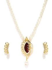 Estelle Gold-Plated Off-White & Brown Beaded & Stone-Studded Jewellery Set