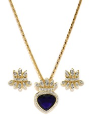 Estelle Gold-Toned Navy Earrings and Pendant Set