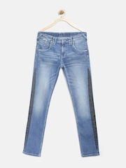 Pepe Jeans Boys Blue Mid-Rise Clean Look Washed Jeans