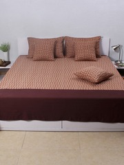 House This Brown Printed Cotton Single Bed Cover