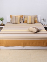 House This Beige Cotton Striped Single Bed Cover with 1 Pillow Cover