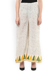Libas Women Cream-Coloured Printed Loose Fit Palazzo Trousers