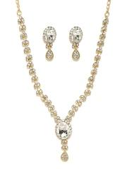 Zaveri Pearls Gold-Toned & White Embellished Austrian Diamond Jewellery Set