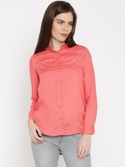 Wrangler Women Coral Pink Regular Fit Solid Casual Shirt