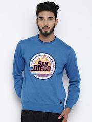 Fort Collins Men Blue Printed Pullover Sweatshirt