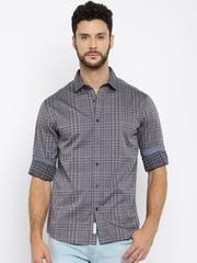 HRX by Hrithik Roshan Men Grey Slim Fit Self-Design Casual Shirt