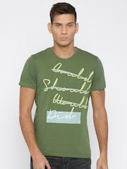 WROGN Men Green Printed T-shirt
