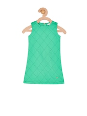 Cherry Crumble Girls Green Checked Shift Dress