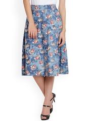 Meee Blue Floral Print A-Line Skirt