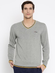 FILA Men Grey Solid Sweater