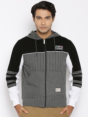 FILA Grey Melange Beam Striped Hooded Sweatshirt