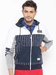 FILA Navy & White Beam Striped Hooded Sweatshirt