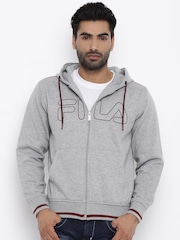 FILA Men Grey Melange Printed Hooded Sweatshirt