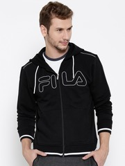 FILA Black Santiago Embroidered Detail Hooded Sweatshirt