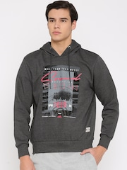 FILA Charcoal Grey Printed Hooded Sweatshirt