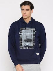 FILA Navy Printed Hooded Sweatshirt