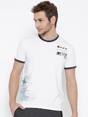 FILA Men White Seafarer Printed Round Neck T-shirt