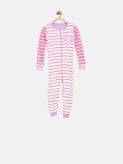 The Childrens Place Girls Off-White Striped Sleepsuit