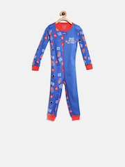The Childrens Place Boys Blue Printed Rompers