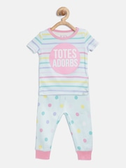 The Childrens Place Girls Mint Green Printed Night Suit 2065542BQ