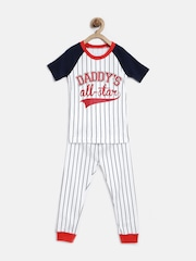The Childrens Place Boys White & Navy Striped Night Suit 2065586IV