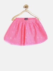 The Childrens Place Girls Neon Pink Net Shimmer Flared Skirt