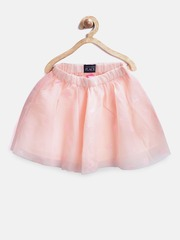 The Childrens Place Girls Peach-Coloured Net Shimmer Flared Skirt