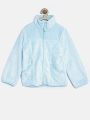 The Childrens Place Girls Light Blue Faux Fur Jacket