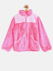 The Childrens Place Girls Neon Pink Faux Fur Jacket