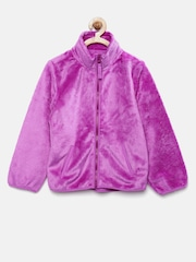 The Childrens Place Girls Purple Faux Fur Jacket