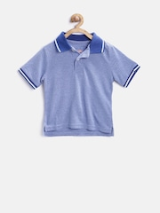 The Childrens Place Boys Blue Solid Polo T-Shirt
