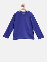 The Childrens Place Boys Blue Solid Round Neck T-shirt