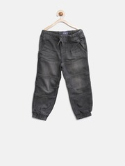 The Childrens Place Boys Black Mid-Rise Clean Look Jogg Jeans