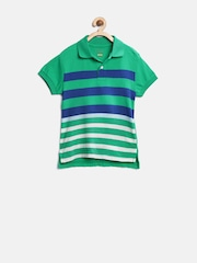 The Childrens Place Boys Green Striped Polo T-shirt
