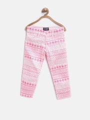The Childrens Place Girls White & Pink Aztec Print Jeans