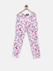 The Childrens Place Girls White Butterfly Print Jeggings