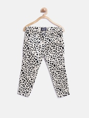 The Childrens Place Girls Beige & Black Animal Print Jeans