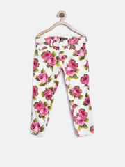 The Childrens Place Girls Off-White & Pink Floral Print Jeans