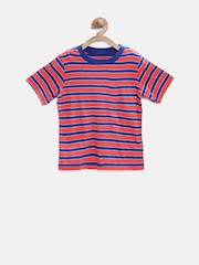 The Childrens Place Boys Coral Orange Striped Round Neck T-shirt